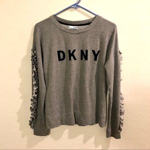 DKNY Sport Size Medium Ruffle Sleeve Sweater